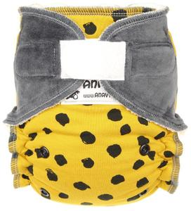 Black dots (mustard) II. quality Fitted diaper with velcro