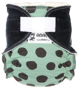 Black dots (khaki) 1 II. quality Fitted diaper with velcro