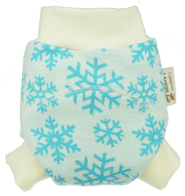 Snowflakes (blue) OLD TYPE II. quality Wool diaper cover pull-up