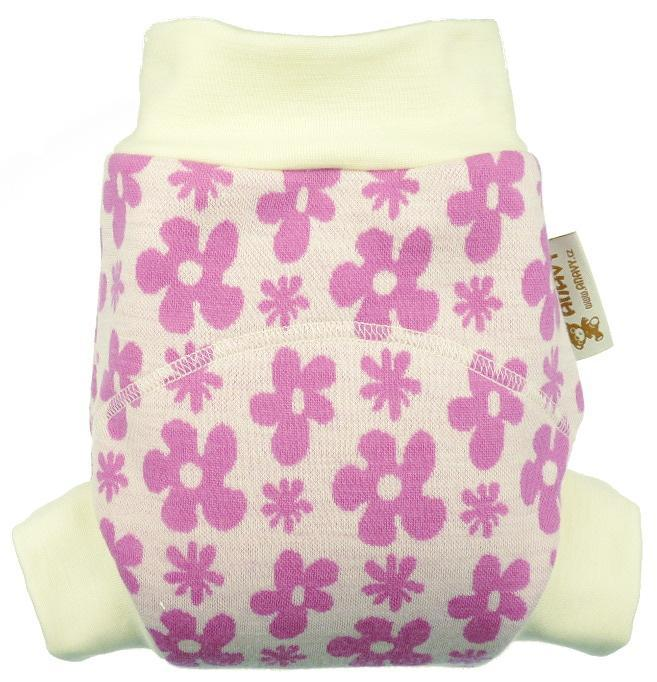 Flowers (pink) OLD TYPE II. quality Wool diaper cover pull-up