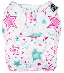 Stars (mint) II. quality PUL diaper cover with snaps