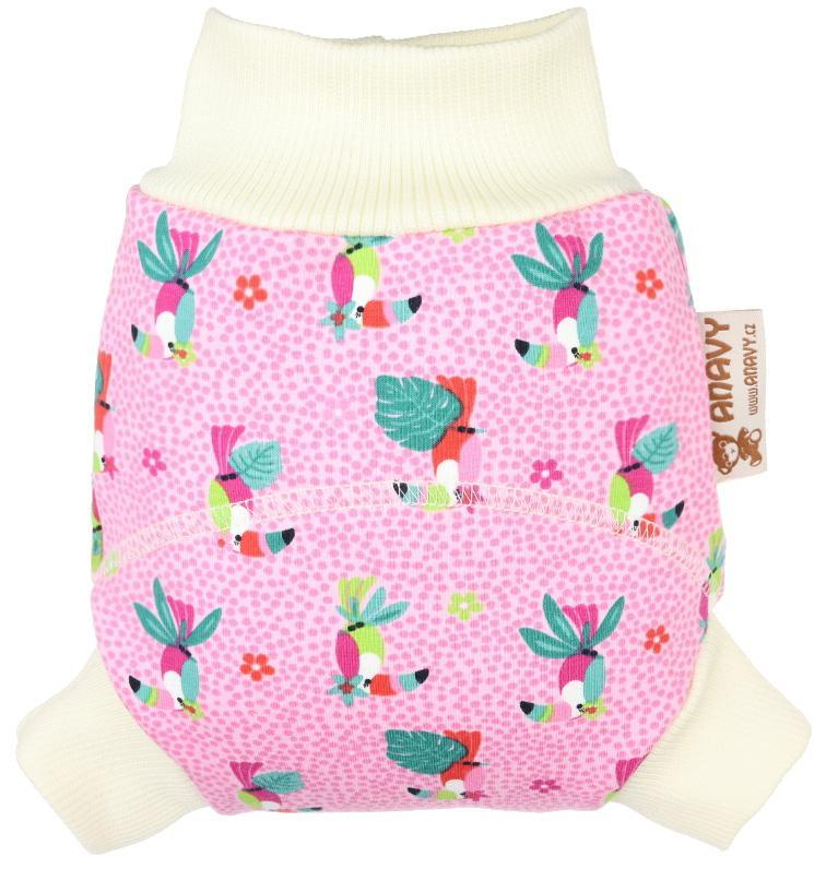 Parrots (pink) II. quality Wool diaper cover pull-up