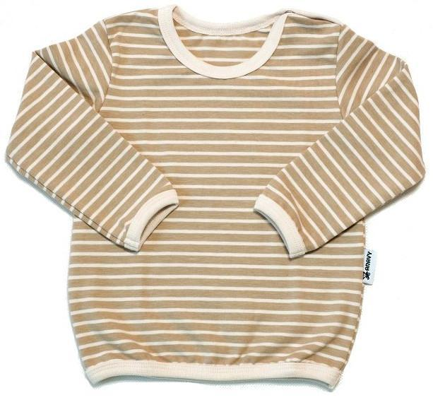Organic cotton Wide brown stripes Tričko s dl. rukávem