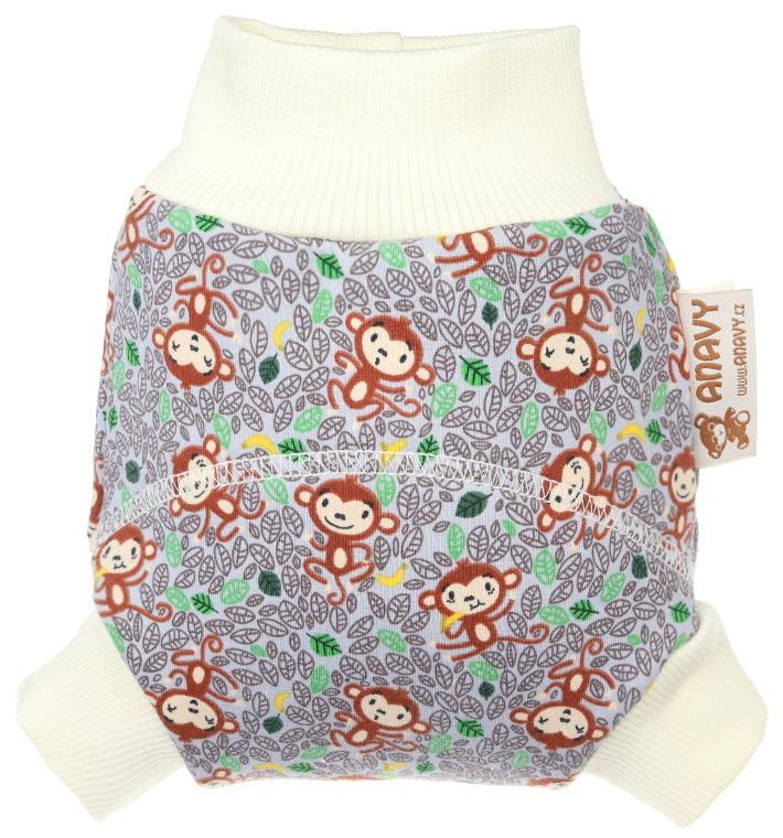 Monkeys (grey) Wool diaper cover pull-up