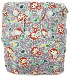 Monkeys (grey) Wool diaper cover with snaps
