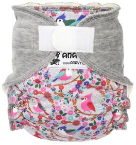 Birds (grey) Fitted diaper with velcro