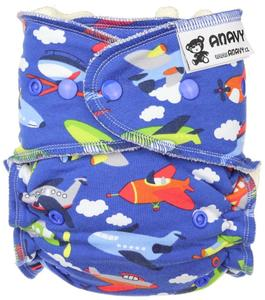 Airplanes (dark blue) Fitted diaper with snaps