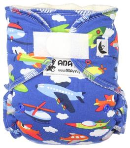 Airplanes (dark blue) Fitted diaper with velcro