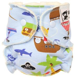 Pirates (light blue) Fitted diaper with snaps