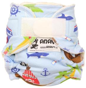 Pirates (light blue) Fitted diaper with velcro