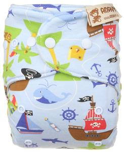 Pirates (light blue) Wool diaper cover with snaps