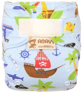 Pirates (light blue) Wool diaper cover with velcro