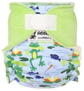Frogs (light blue)/Grass Fitted diaper with velcro