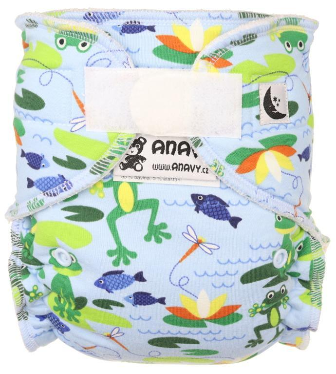 Frogs (light blue) Fitted diaper with velcro