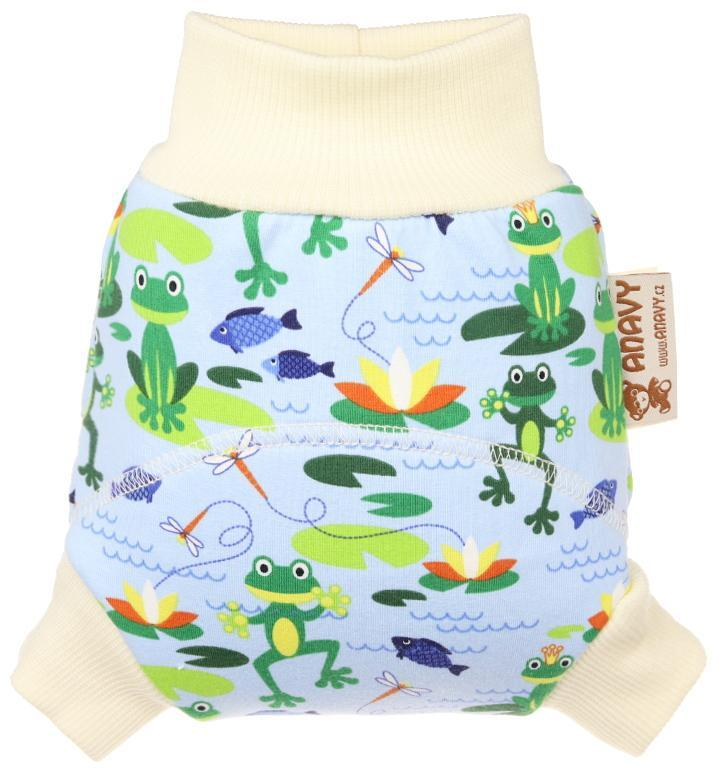 Frogs (light blue) Wool diaper cover pull-up