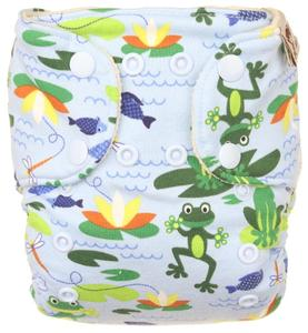 Frogs (light blue) Wool diaper cover with snaps