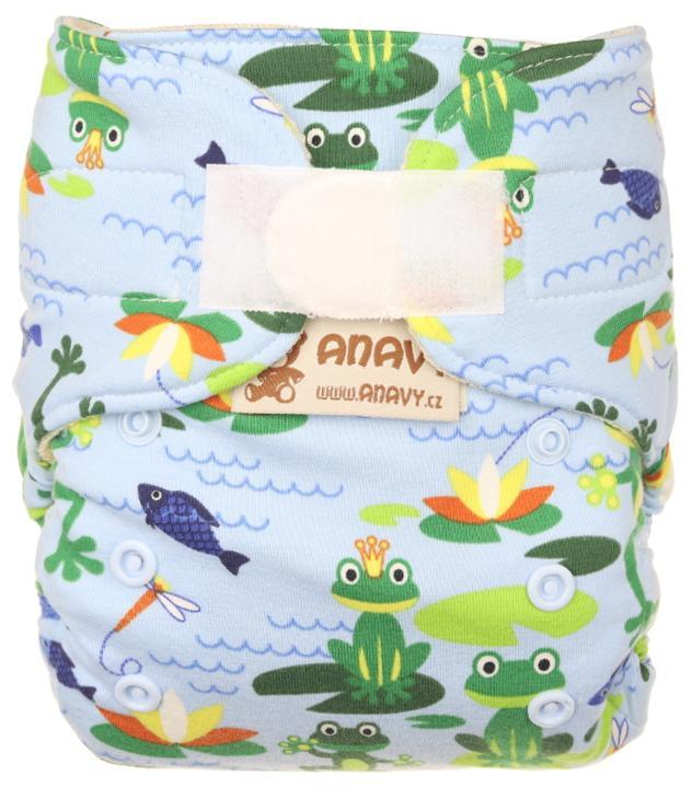 Frogs (light blue) Wool diaper cover with velcro