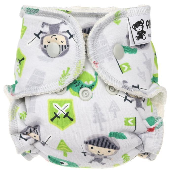 Knights (grey) Fitted diaper with snaps
