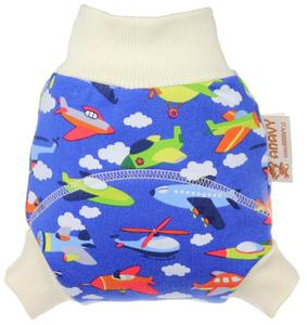 Airplanes (dark blue) Wool diaper cover pull-up