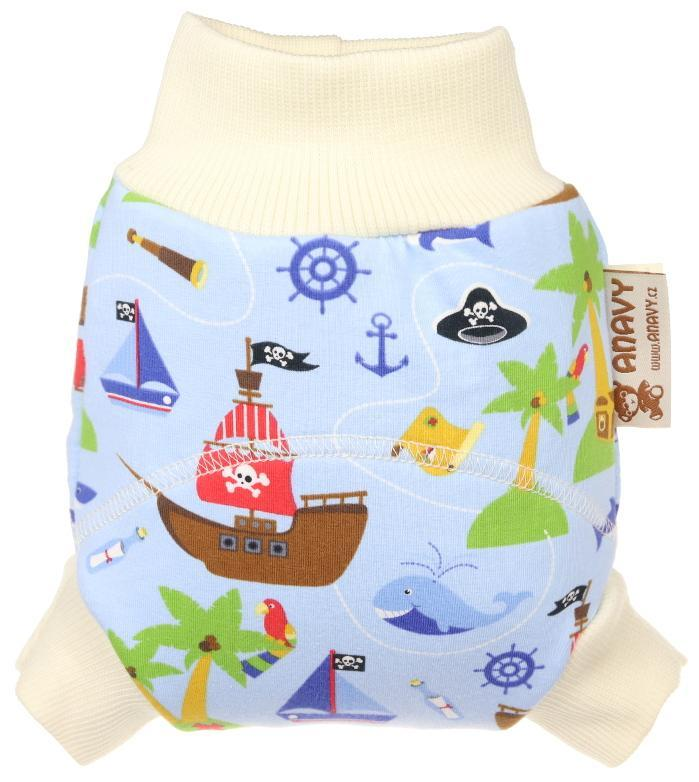 Pirates (light blue) Wool diaper cover pull-up