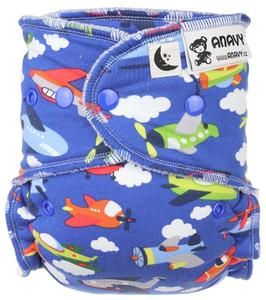 Airplanes (dark blue) II. quality Fitted diaper with snaps