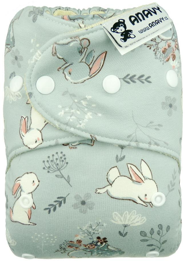 Rabbits (grey) Wool diaper cover with snaps