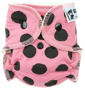 Black dots (pink) II. quality Fitted diaper with snaps