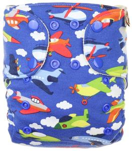 Airplanes (dark blue) II. quality Wool diaper cover with snaps