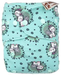Unicorns in the meadow II. quality Wool diaper cover with snaps