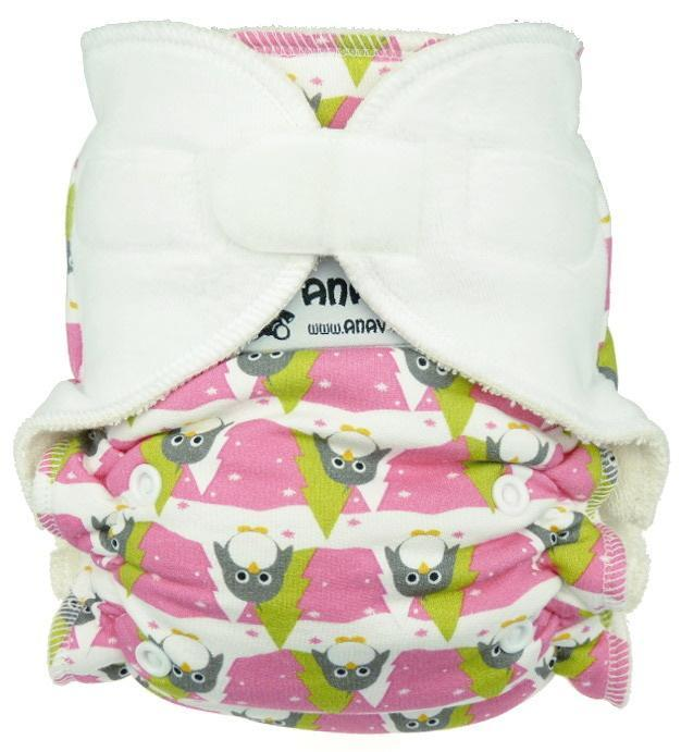 Winter penguins (pink) Fitted diaper with velcro