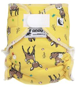 Deer (yellow) II. quality Fitted diaper with velcro