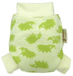 Hedgehogs (green) OLD TYPE II. quality Wool diaper cover pull-up