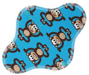 Monkeys (blue) Menstrual pad with fleece