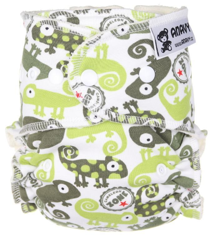 Chameleons (green, white) Fitted diaper with snaps