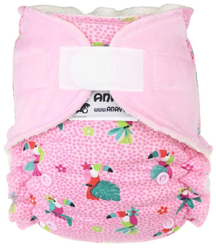 Parrots (pink) II. quality Fitted diaper with velcro