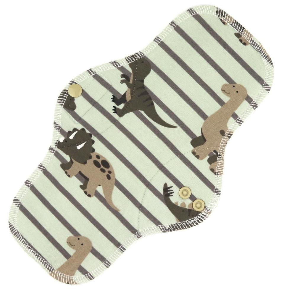Dinos and stripes (brown) Menstrual pad with fleece