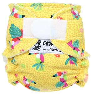 Parrots (yellow) Fitted diaper with velcro