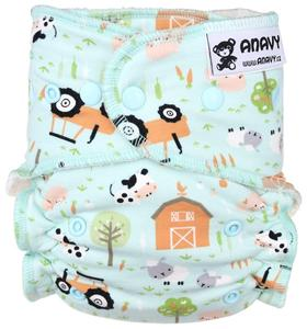 Farm (mint) Fitted diaper with snaps