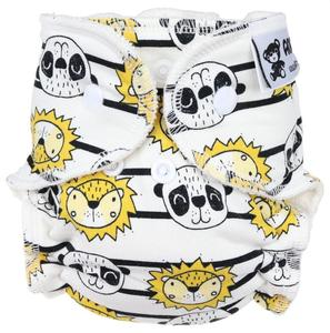 Lion and panda (stripes) Fitted diaper with snaps
