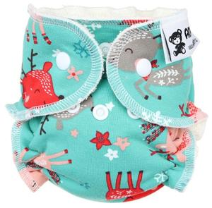 Fawns (mint) Fitted diaper with snaps