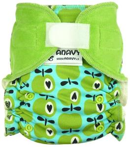 Apples (green,blue) II. quality Fitted diaper with velcro