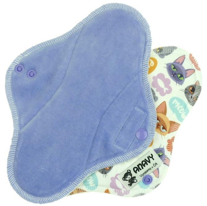 Periwinkle/Cats Menstrual pad with PUL