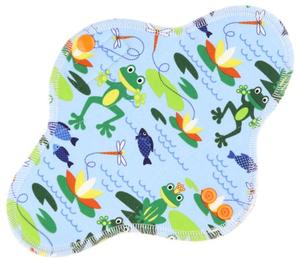 Frogs (light blue) Menstrual pad with fleece