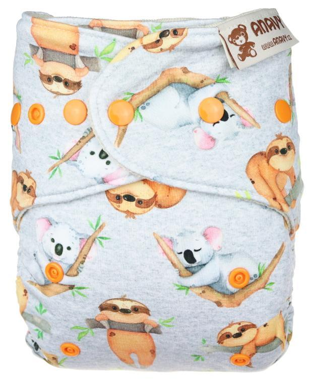 Sloths and koalas Wool diaper cover with snaps