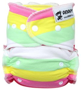 Stripes (bubble gum) Fitted diaper with snaps