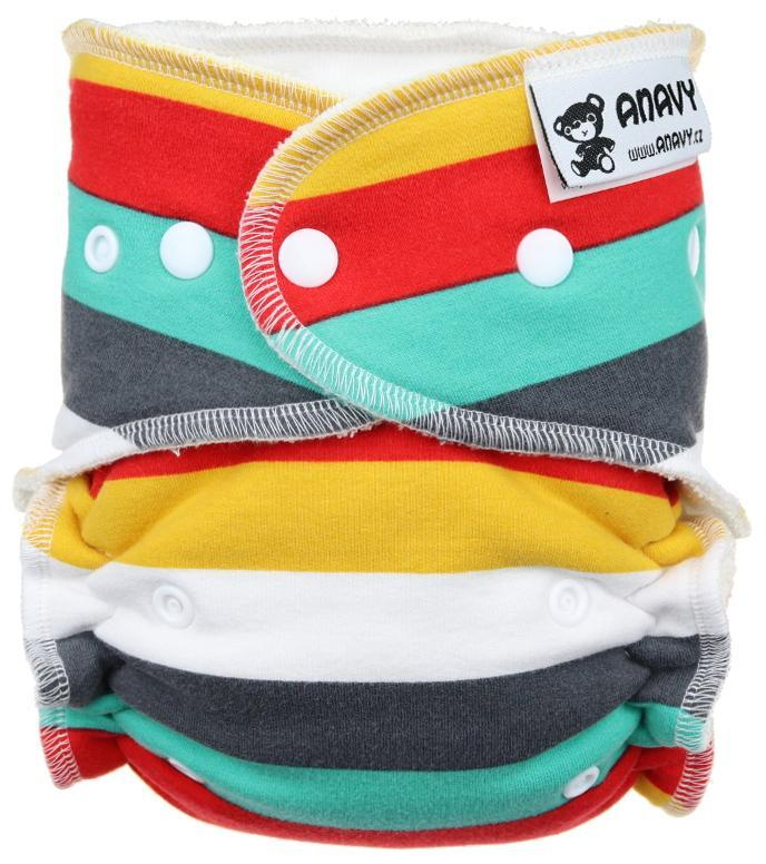 Stripes (cool) Fitted diaper with snaps
