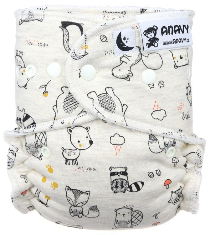 Forest animals (grey) Fitted diaper with snaps