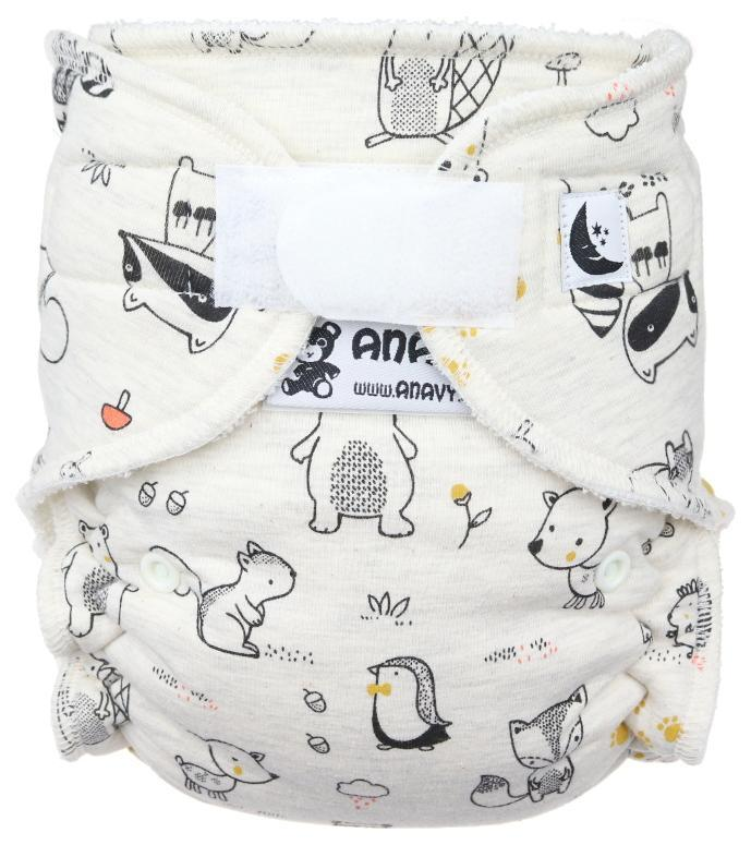 Forest animals (grey) Fitted diaper with velcro