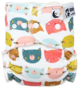 Cat heads Fitted diaper with snaps