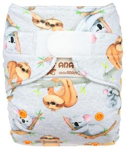 Sloths and koalas Wool diaper cover with velcro